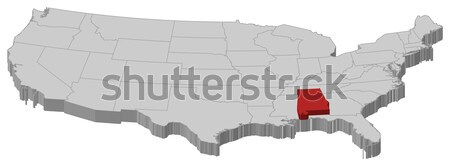 Map of the United States, Mississippi highlighted Stock photo © Schwabenblitz