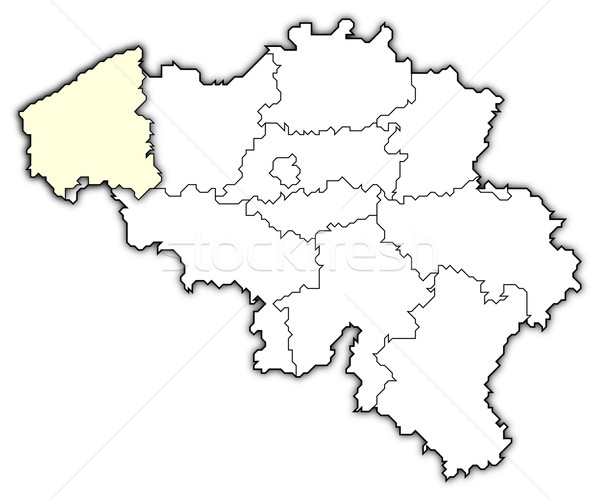 Map of Belgium, West Flanders highlighted Stock photo © Schwabenblitz