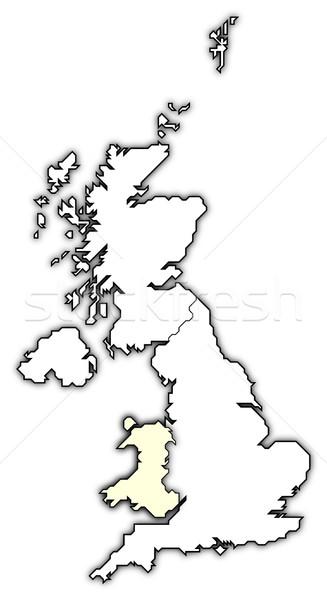 Harita Büyük Britanya galler siyasi birkaç Stok fotoğraf © Schwabenblitz