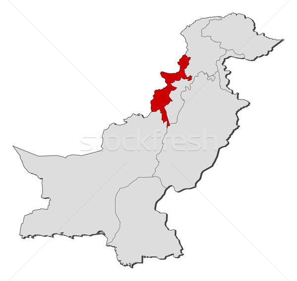 Map of Pakistan, Federally Administered Tribal Areas highlighted Stock photo © Schwabenblitz