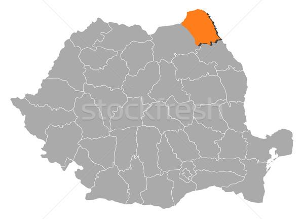 Map of Romania, Botosani highlighted Stock photo © Schwabenblitz