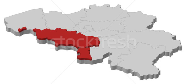Map of Belgium, Hainaut highlighted Stock photo © Schwabenblitz