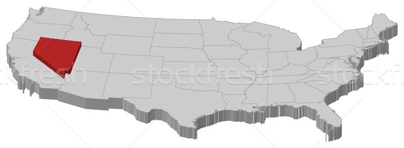 Map of the United States, Nevada highlighted Stock photo © Schwabenblitz