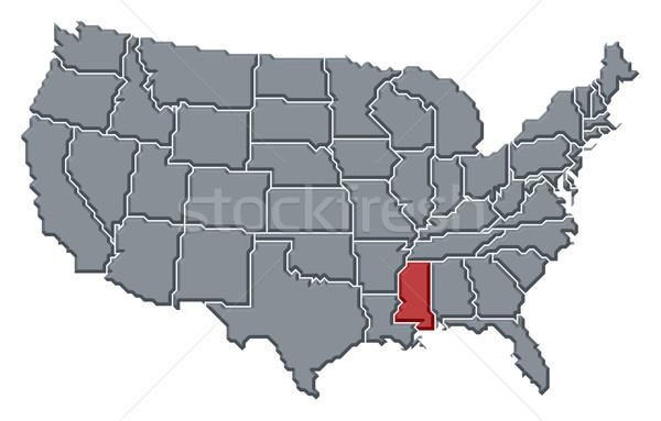 Foto stock: Mapa · Estados · Unidos · Mississipi · político · vários · abstrato