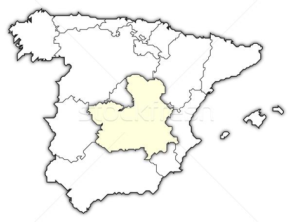 Map Of Spain La Mancha.Map Of Spain Castile La Mancha Highlighted Stock Photo C Steffen
