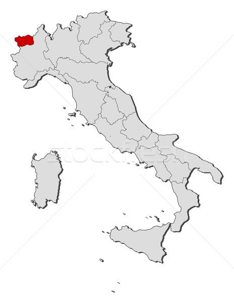 Stock fotó: Térkép · Olaszország · völgy · politikai · néhány · régiók