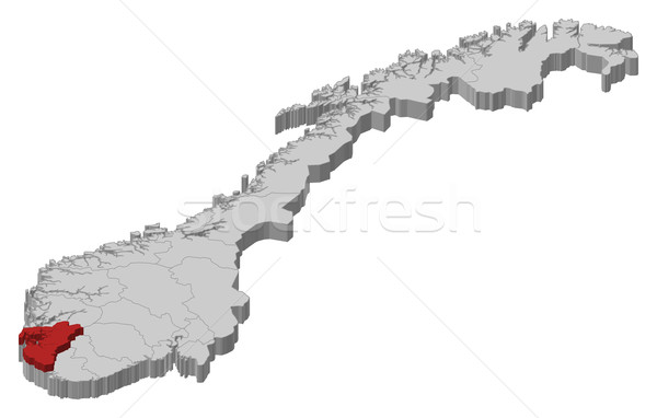 Map of Norway, Rogaland highlighted Stock photo © Schwabenblitz