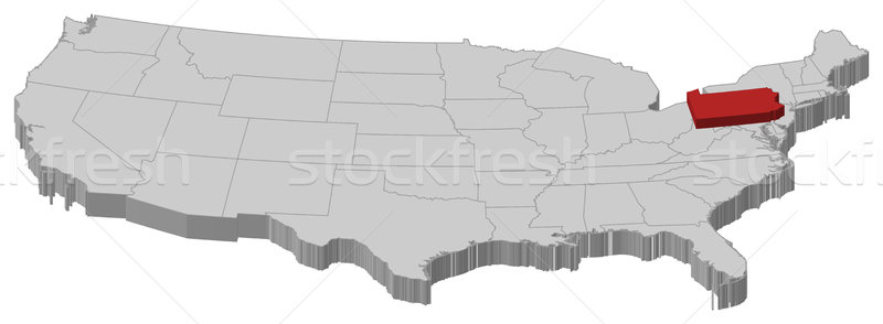 Map of the United States, Pennsylvania highlighted Stock photo © Schwabenblitz