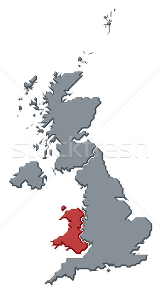Map of United Kingdom, Wales highlighted Stock photo © Schwabenblitz