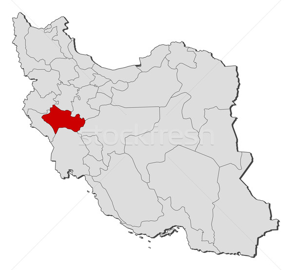 Stock photo: Map of Iran, Lorestan highlighted