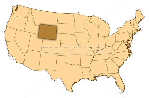 Kaart Verenigde Staten Wyoming abstract achtergrond communicatie Stockfoto © Schwabenblitz