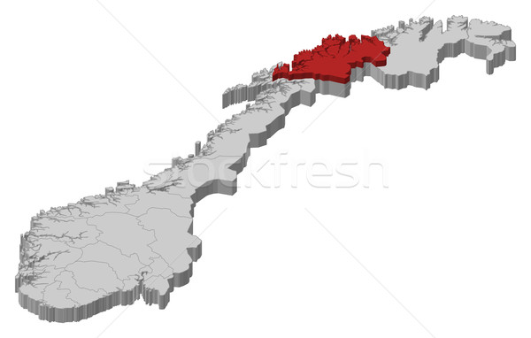 Map of Norway, Troms highlighted Stock photo © Schwabenblitz