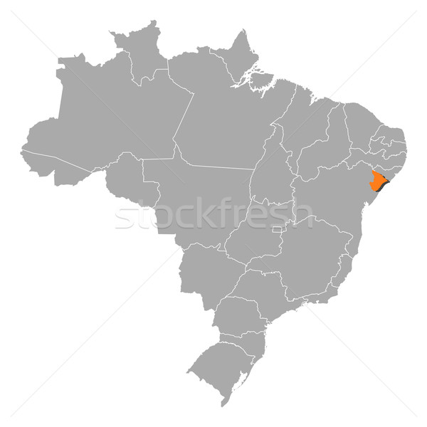 Stock photo: Map of Brazil, Sergipe highlighted