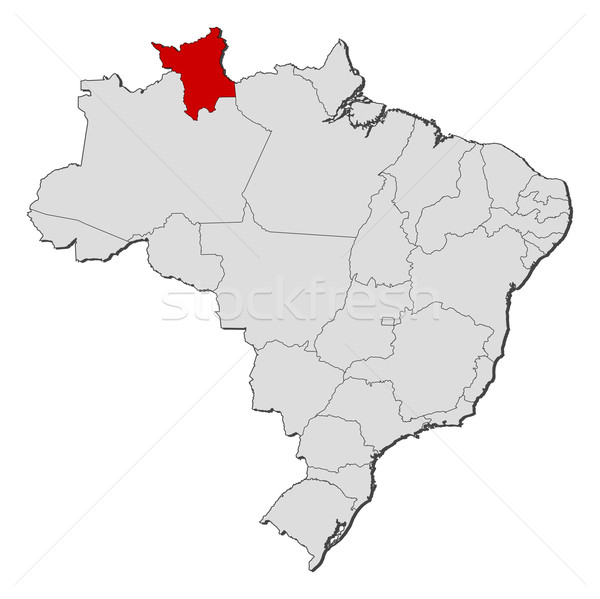 Stock photo: Map of Brazil, Roramia highlighted