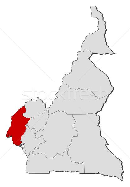 Stok fotoğraf: Harita · Kamerun · güneybatı · siyasi · birkaç · bölgeler