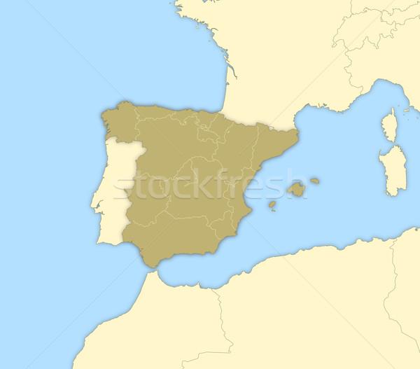 карта Испания политический несколько аннотация Сток-фото © Schwabenblitz