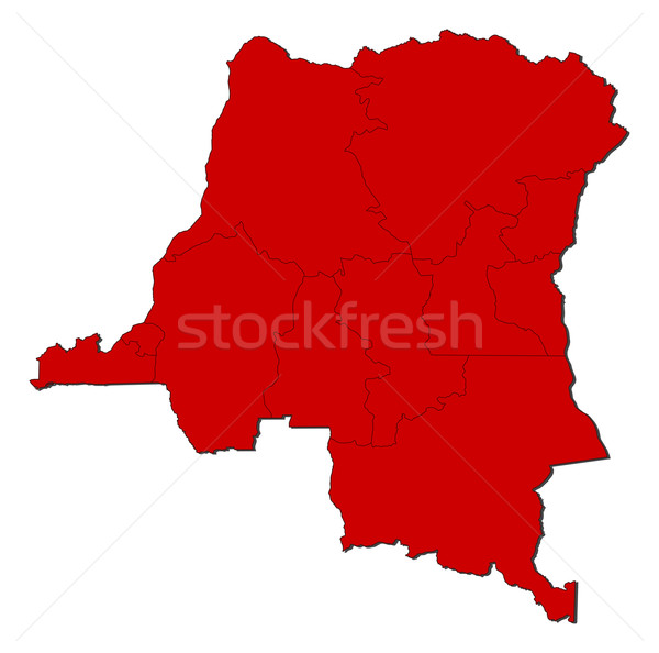 Harita demokratik cumhuriyet Kongo renkli kırmızı Stok fotoğraf © Schwabenblitz