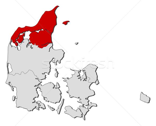 карта север Дания политический несколько Сток-фото © Schwabenblitz