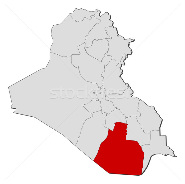 Map of Iraq, Al Muthanna highlighted Stock photo © Schwabenblitz