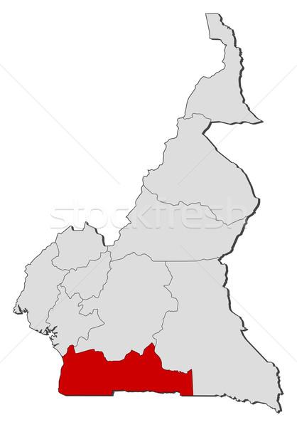 Kaart Kameroen zuiden politiek verscheidene regio Stockfoto © Schwabenblitz