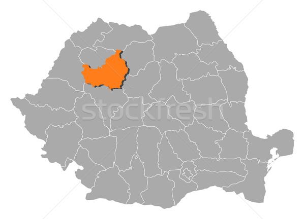Map of Romania, Cluj highlighted Stock photo © Schwabenblitz