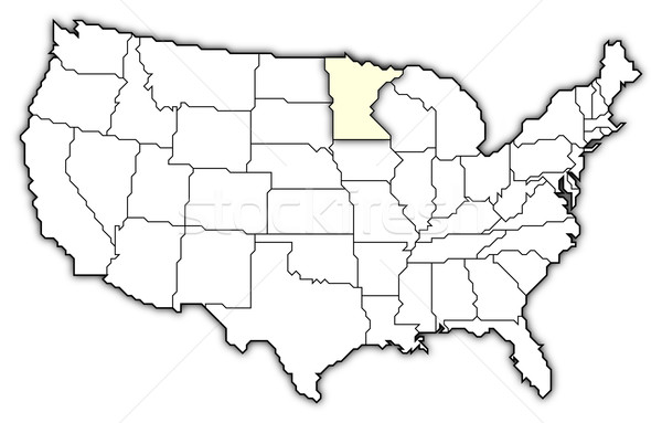 Map Of The United States Minnesota Highlighted Stock Photo - Minnesota on a us map