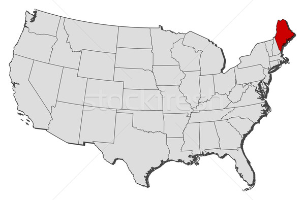 united states map maine Map Of The United States Maine Highlighted Vector Illustration