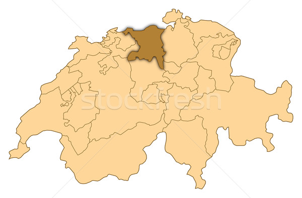 Map of Switzerland, Aargau highlighted Stock photo © Schwabenblitz
