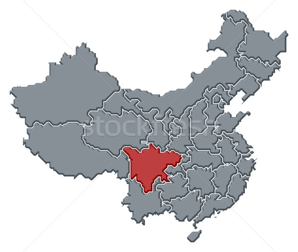 Map of China, Sichuan highlighted Stock photo © Schwabenblitz