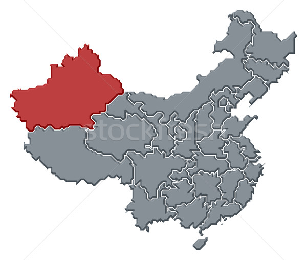 Map of China, Xinjiang highlighted Stock photo © Schwabenblitz