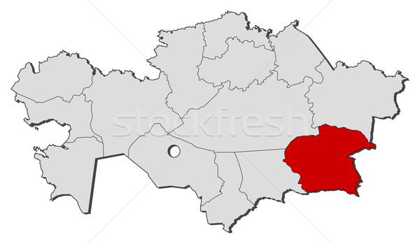 Stock photo: Map of Kazakhstan, Almaty highlighted