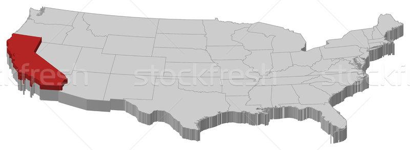 Foto stock: Mapa · Estados · Unidos · Califórnia · político · vários · abstrato