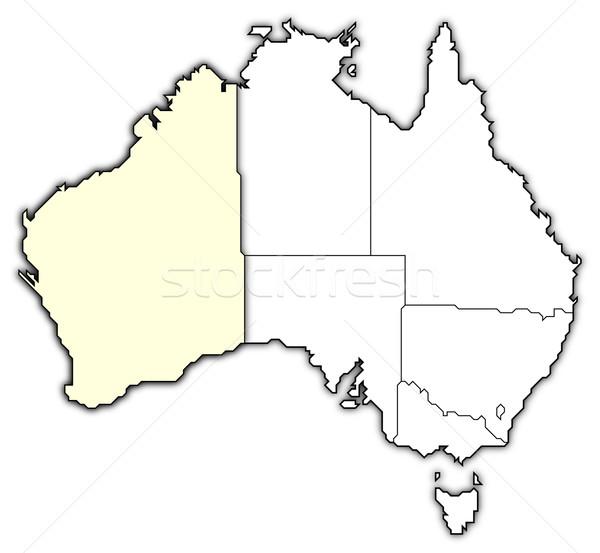 ストックフォト: 地図 · オーストラリア · 西部 · 政治的 · いくつかの · 抽象的な