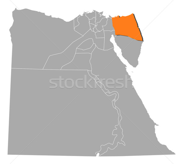 Map of Egypt, North Sinai highlighted Stock photo © Schwabenblitz