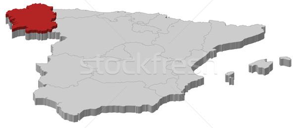 Kaart Spanje galicië politiek verscheidene regio Stockfoto © Schwabenblitz
