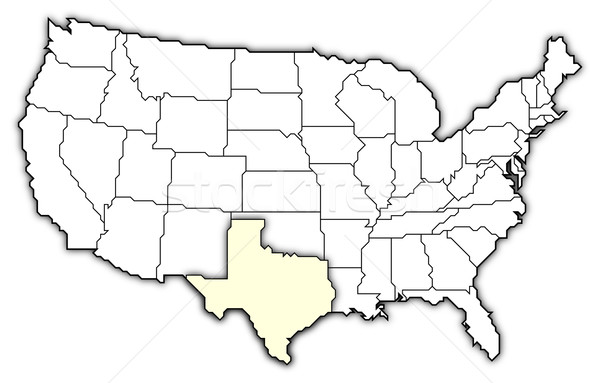 Map of the United States, Texas highlighted stock photo © Steffen ...