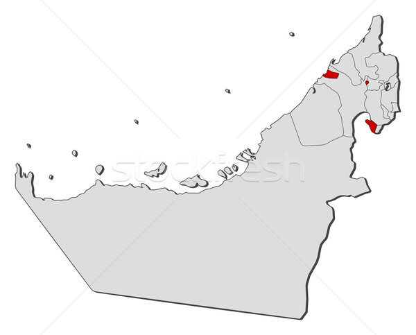 Map of the United Arab Emirates Ajman highlighted vector
