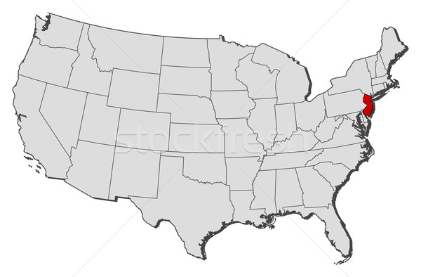 Map Of The United States New Jersey Highlighted Vector - New jersey on us map