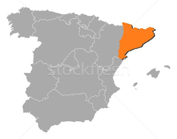 Map of Spain, Catalonia highlighted Stock photo © Schwabenblitz