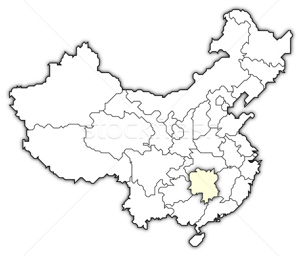 Map of China, Hunan highlighted Stock photo © Schwabenblitz