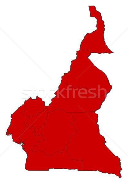 Mapa Camarões vermelho abstrato terra Foto stock © Schwabenblitz