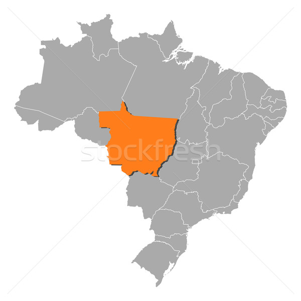 Stock photo: Map of Brazil, Mato Grosso highlighted