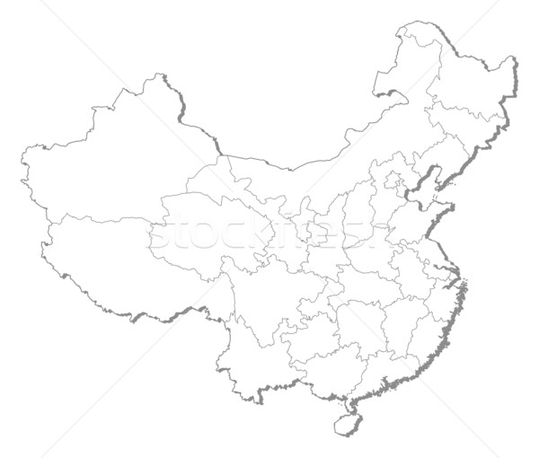 Foto stock: Mapa · China · político · mundo · resumen