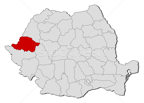 Map of Romania Arad highlighted vector illustration Steffen