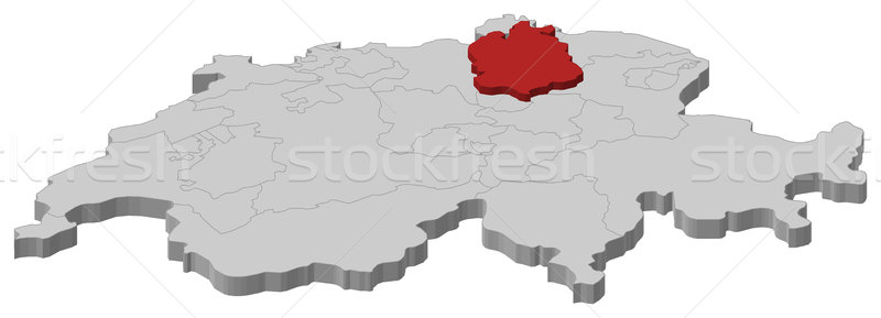Map of Swizerland, Zurich highlighted Stock photo © Schwabenblitz