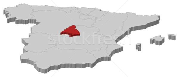 Kaart Spanje Madrid politiek verscheidene regio Stockfoto © Schwabenblitz