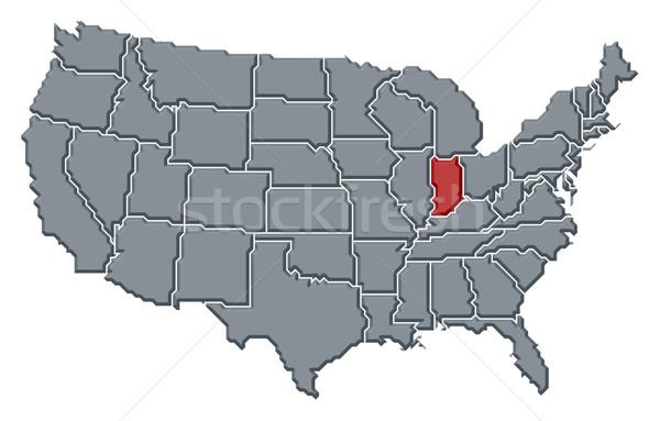 Harita Amerika Birleşik Devletleri Indiana siyasi birkaç soyut Stok fotoğraf © Schwabenblitz