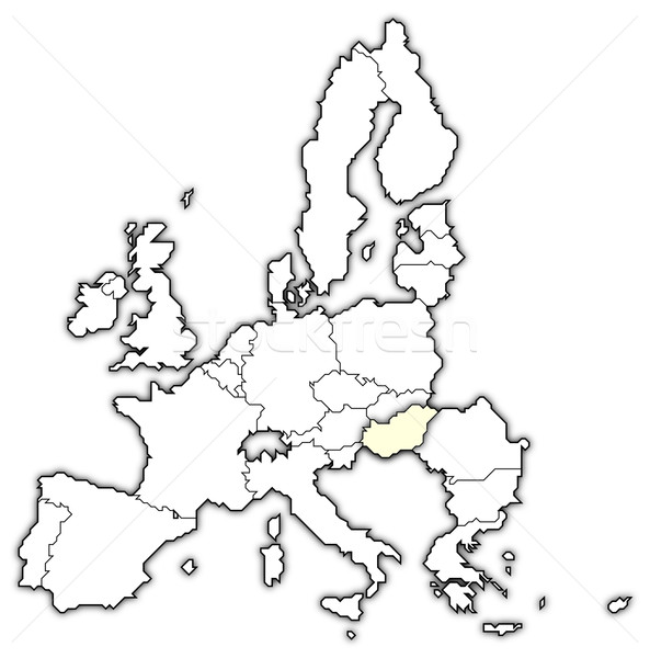 Map of the European Union, Hungary highlighted Stock photo © Schwabenblitz