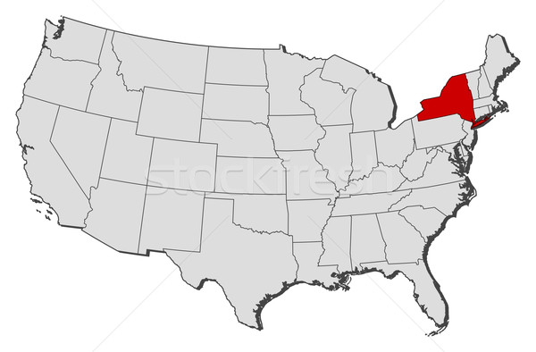 Map of the United States, New York highlighted vector ...
