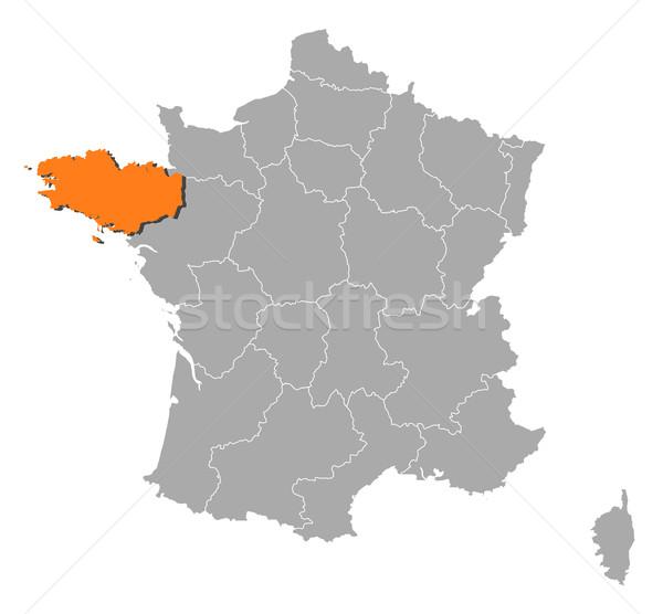 ストックフォト: 地図 · フランス · 政治的 · いくつかの · 地域 · 抽象的な